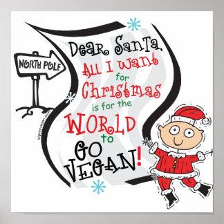 Estimado deseo del vegano de Santa Póster