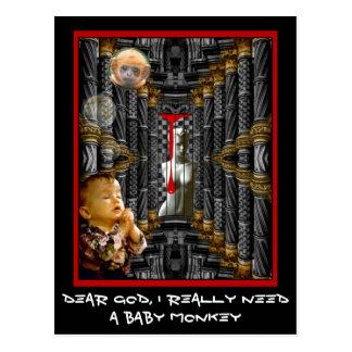 Estimado dios, necesito realmente un mono del bebé tarjeta postal