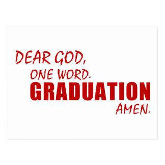 Estimado dios, una palabra. GRADUACIÓN. Amen. Postal