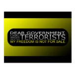 Estimado gobierno: No negocio con los terroristas Tarjetas Postales