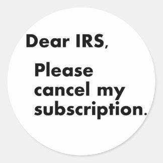 Estimado IRS Pegatina Redonda