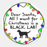 Estimado laboratorio negro de Santa Pegatina Redonda