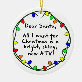 Estimado ornamento del navidad de Santa ATV Adorno De Navidad