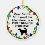 Estimado portugués Podengo del alambre de Santa Adorno Navideño Redondo De Cerámica