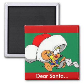Estimado ratón de Santa Imán Cuadrado