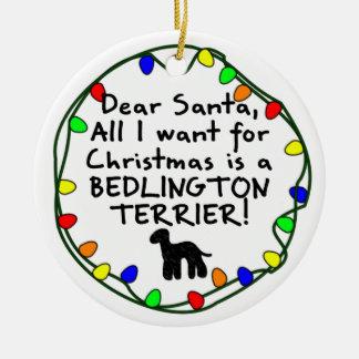 Estimado Santa Bedlington Terrier Adorno