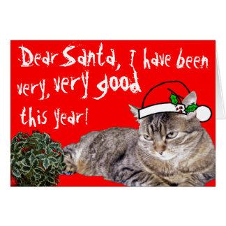 ¡Estimado Santa, buen gato ~Customizable! Tarjeta De Felicitación
