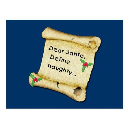 Estimado Santa… define las camisetas traviesas, Postal