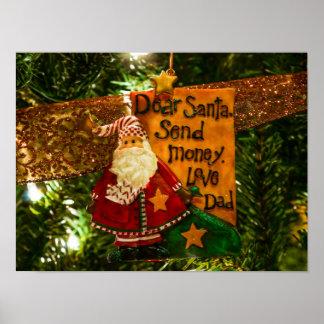 Estimado Santa envía el dinero Póster