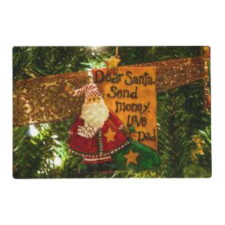 Estimado Santa envía el dinero Tapete Individual