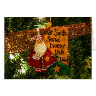 Estimado Santa envía el dinero Tarjeta Pequeña