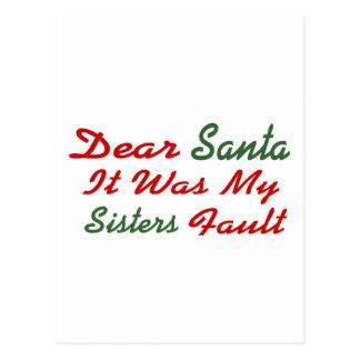 Estimado Santa era mi falta de las hermanas Tarjetas Postales