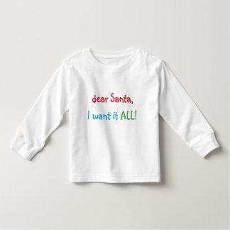 Estimado Santa lo quiero la camiseta el  