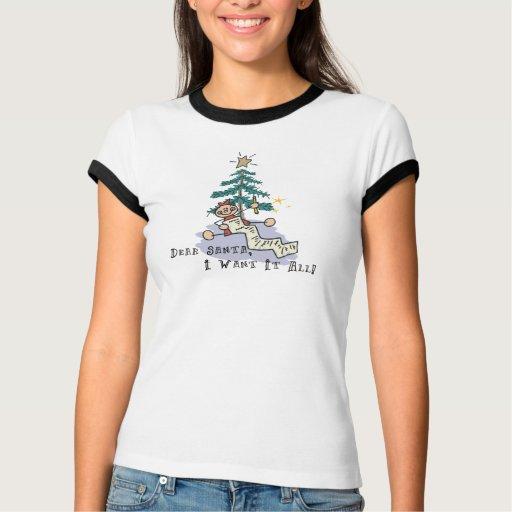 Estimado Santa lo quiero toda la camiseta Polera