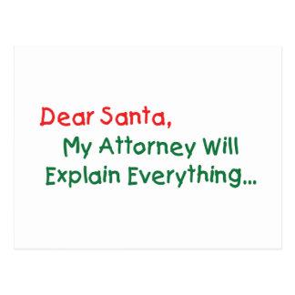 Estimado Santa mi abogado explicará - divertido Postales
