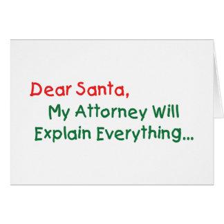 Estimado Santa mi abogado explicará - divertido Tarjeta De Felicitación
