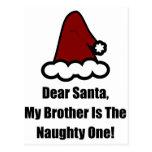 Estimado Santa, mi Brother es el travieso Tarjeta Postal