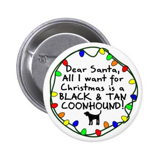 Estimado Santa negro y Coonhound del moreno Pin Redondo De 2 Pulgadas