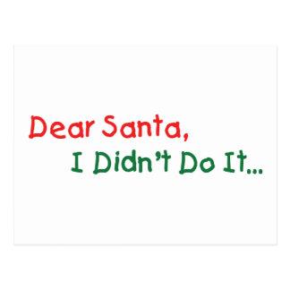 Estimado Santa, no lo hice letra divertida a Santa Postales