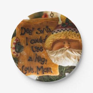 Estimado Santa podría utilizar un abrazo Platos De Papel