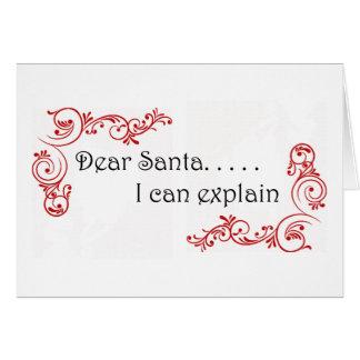 Estimado Santa puedo explicar notecard Tarjeta Pequeña