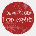 Estimado Santa que puedo explicar Etiqueta Redonda