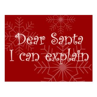 Estimado Santa que puedo explicar Tarjeta Postal