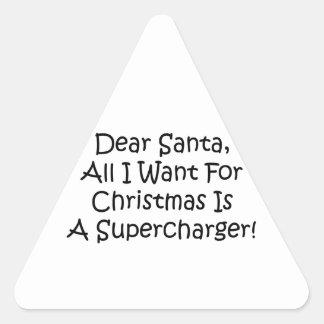 Estimado Santa todo lo que quiero para el navidad Pegatina Triangular