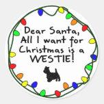 Estimado Santa Westie Pegatinas Redondas