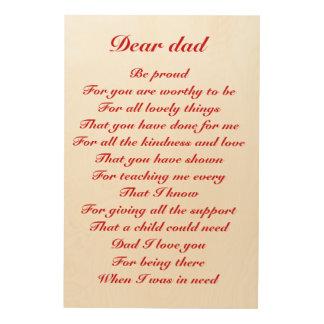 estimado tributo del día de padre del papá cuadro de madera