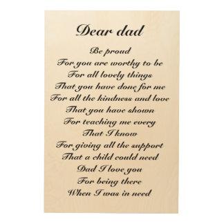 estimado tributo del día de padre del papá impresiones en madera