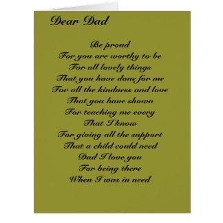 Estimado tributo del día de padre del papá tarjeta de felicitación grande