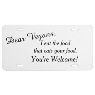 Estimado vegano falso placa de matrícula