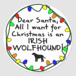 Estimado Wolfhound irlandés de Santa Etiqueta Redonda