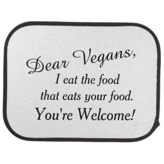 Estimados jinetes del vegano alfombrilla de auto
