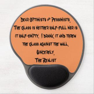 Estimados optimistas y pesimistas alfombrillas de ratón con gel