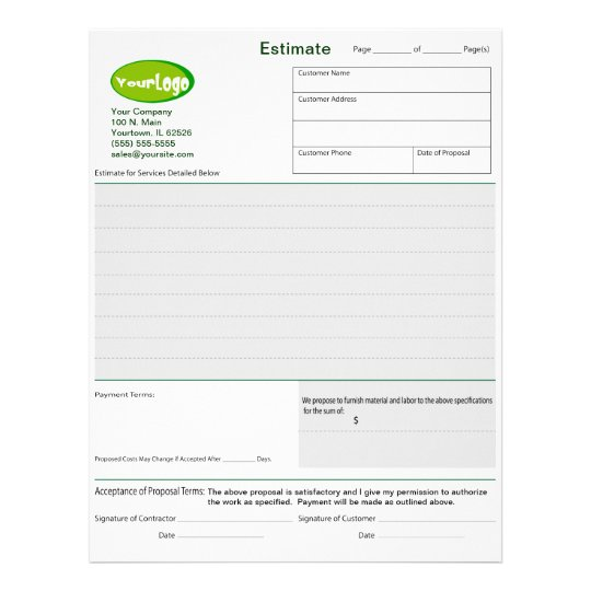 Estimate  Quote  Job Proposal Forms Letterhead  ZazzleCom