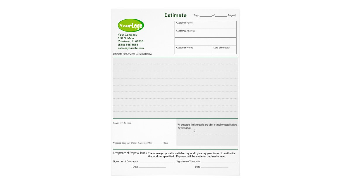 Estimate / Quote / Job Proposal Forms Letterhead | Zazzle