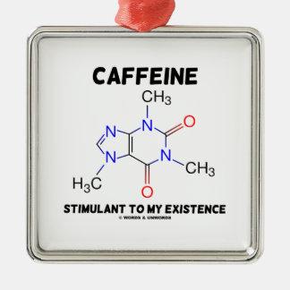 Estimulante del cafeína a mi existencia (molécula) adorno navideño cuadrado de metal