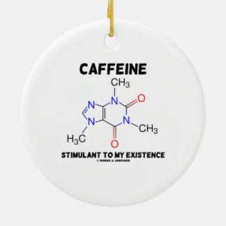 Estimulante del cafeína a mi existencia (molécula) adorno navideño redondo de cerámica