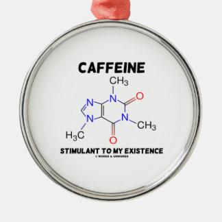 Estimulante del cafeína a mi existencia (molécula) adorno navideño redondo de metal