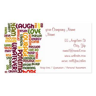 Estímulo de motivación del positivo de las palabra plantillas de tarjetas de visita