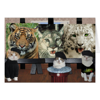 Estímulo divertido de los artistas del gato/de los felicitaciones