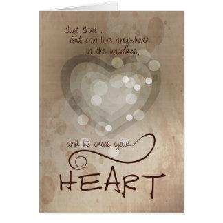 Estímulo religioso del corazón tarjeta de felicitación