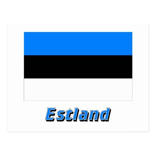 Estland Flagge mit Namen Postcard