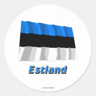 Estland Fliegende Flagge mit Namen Sticker