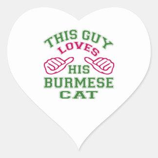 Esto ama su Burmese Cat Calcomania De Corazon