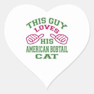 Esto ama su gato Bobtail americano Calcomanías De Corazones