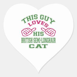 Esto ama su gato semi-de pelo largo británico pegatina corazon