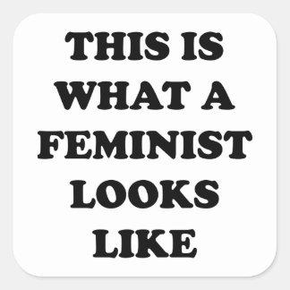 Esto es lo que parece una feminista pegatina cuadrada